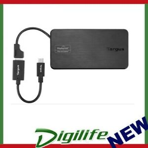 Targus USB 3.0 & USB-C Dual Travel Dock Connects 2 monitors, 1x HDMI 1x VGA, Sup