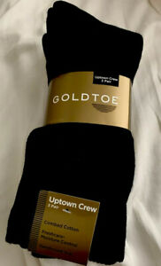 Gold Toe Men's Socks, Men's Gold Toe 2306S Uptown Crew, 3 pair pack, Black