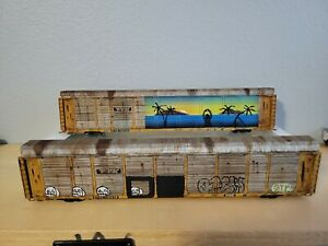 HO Scale Walthers TTX Tri-level Autorack Set (Weathered/Graffitied)