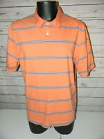 Brooks Brothers 346 Short Sleeve Polo Shirt Men's XL Orange Striped Cotton