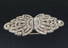 Vintage Art Deco Diamond Paste Duette Dress Clip Brooch Sterling Silver