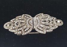 Vintage Art Deco Diamond Paste Duette Dress Clip Brooch Sterling Silver