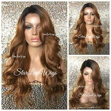 Full Wig Strawberry Blonde Dark Roots Bangs Loose Curls Layers Long Heat Safe Ok