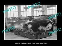 OLD LARGE HISTORIC PHOTO OF 1952 PORSCHE 356 TURIN MOTOR SHOW DISPLAY