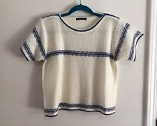 """Gorgeous """"Siberian & Husky"""" Blue and White knit top blouse Box shape (One Size)"""