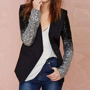 Women's Long Sleeve Blazers Jacket Bling Silver Black Sequins Elegant Coat S-3XL