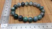 Bracelet AGATE MOUSSE perles 12mm mineraux lithotherapie pierre
