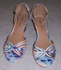 MONTEGO BAY Womens Size 7.5M Multi Color Sandals Open Toe Wedge Heel Ankle Strap