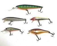 Fishing Lures Minnow Freshwater Bass Rapala Crankbaits Lot Of 5