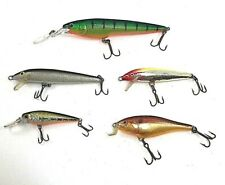 Fishing Lures Minnow Freshwater Bass Rapala Crankbaits Lot Of 5