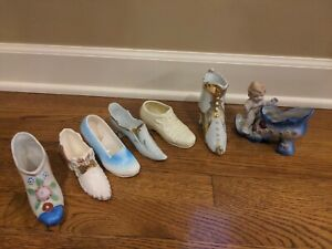 Porcelain collectable Vintage Victorian Shoes Boots lot of 7, 6 in size