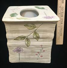 "Tissue Box Cover Square Ribbed Nature Leaf Berry Pressed Design 6"" Kleenex Decor"