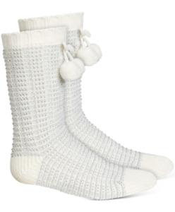 CHARTER CLUB Women's Metallic Striped Slipper Socks sz Large / X-Large (4-10.5)