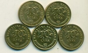 5 DIFFERENT 10 LIPA COINS from CROATIA (2011, 2013, 2015, 2017 & 2019)