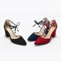 New Womens Block High Heels Ankle Strap Pointed Toe Suede Sandals Lace Up Shoes