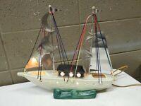 Mid Century Modern MCM Tv Lamp Sailboat Boat Yacht Ceramic Chrome (C23)