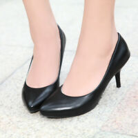 Womens Kitten Heel Pointy Toe Pumps Simple Office Work Casual Ladies Shoes Sz43