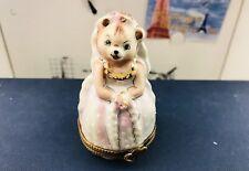 Rare Authentic Limoges France Peint Main Bear Bride Trinket Ring Box Nib Coa