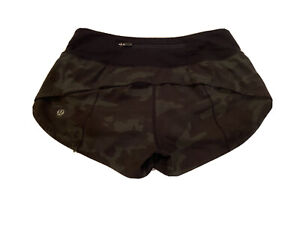 lululemon Speed Up Shorts 2.5 Size 2 Camo Green Multi Black