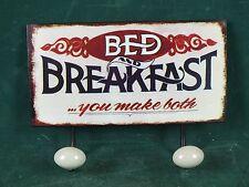 Garderobe Garderobenhaken Haken 2 er auf Nostalgie Blechschild Bed and Breakfast