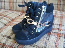 Aldo Womens 7.5 (38) Black Hightop Side-Zip Fashion Sneakers