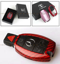 RED EDITION CARBON FIBER SNAP ON CASE FOR MERCEDES-BENZ W212 W205 W222 KEY FOB