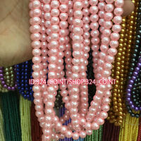 Z003 Wholesale pink Glass Pearl Round Spacer Loose Beads 4/6/8/10mm DIY