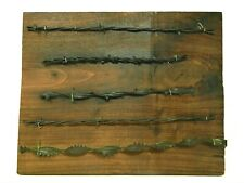 Antique Vintage BARBED WIRE Wood Display w/5 Cuts of Authentic Used Barbwire
