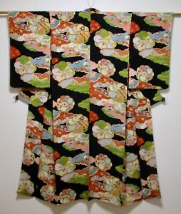 JAPANESE KIMONO SILK ANTIQUE KOMON / BLACK / FLOWER / RARE / VINTAGE SILK FABRIC