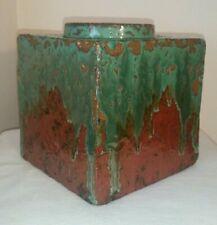 Hamada Shoji Style Pottery Vase Press Molded Square Cube Bottle Vase
