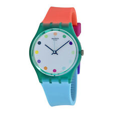 Swatch Candy Parlour Light Blue Dial Multi-Color Silicone Ladies Watch GG219
