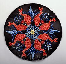 Oriental Auspicious Mandala Vintage Embroidery Piece: EIGHT KOI FISH MANDALA =