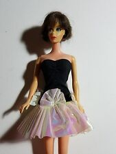Vintage Barbie Doll Black & Iridescent Short Party Dress - Made In China