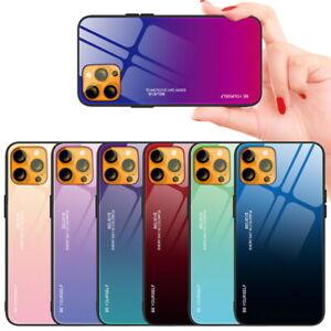 Für iPhone 13 mini 12 Pro Max Gradient Back Gehärtetes Glas Schutzhüllen Cover