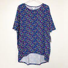 Lularoe Womens Shirt Irma Blue Multicolored Geometric Oversized Tunic Size L New