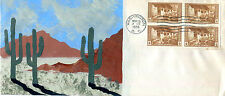 AUTHENTIC oversized handpainted Set of 5 National Parks 1935 imperf block 4 FDC