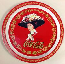 Vintage Enjoy COCA COLA  Red Round Metal Serving Tray Picture Lady 1982 Decor
