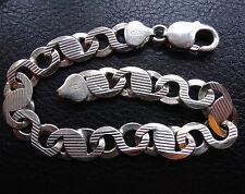 vintage 925 STERLING SILVER 15g 9mm wide modernist fancy chain bracelet -C413