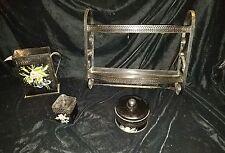 Vintage 5 piece Metal with Floral Print Bathroom and Vanity Set