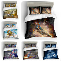 3D Mountain Motorcycle Comforter Cover Bedding Set Pillowcase Sport Quilt Cover