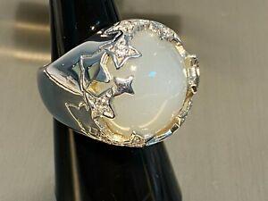 925 Silber Ring XXL  Mondstein &  Weißtopas Gr 17 ca 18,6 Gramm