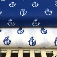 Shabby Chic Blue Anchor 100% Cotton Fabric. Price per 1/2 meter