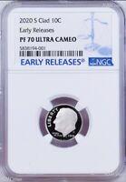 2020 S Proof 10C Clad Roosevelt Dime NGC PF70 ULTRA CAMEO ER Blue Label