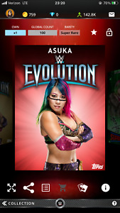 Topps WWE Slam Digital 2018 Evolution Asuka Red Base 100cc