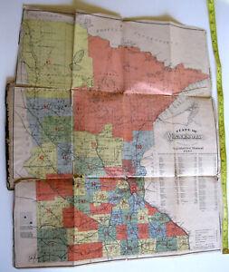 "20""x17"" Original 1883 Pocket Map Minnesota published St Paul Legislative Manual"