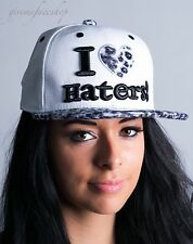 I Love Haters Snapback Coperchi, Leopardo Bianco Uomo, Donna Piatto Picco Baseball Cappelli