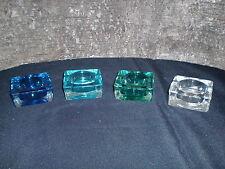 Teelichthalter quadratisch 4 Farben grün aqua türkis 4er-Set
