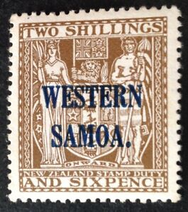 Samoa 1935 2/6 Shilling brown witn Western Samoa overprint mint hinged