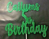 Custom Cake Topper Glitter Any word personalised customised 5th GREEN birthday