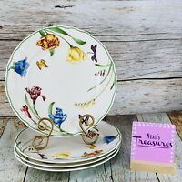 Epoch SUMMER MEADOW Dragonfly Butterfly Floral Scalloped Dinner Plates Set of 4